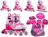 Role copii, mar. 34-37, cu casca si accesorii de protectie, roz cu alb