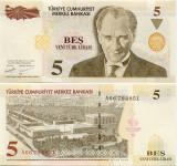 TURCIA █ bancnota █ 5 Yeni Lira █ 2005 █ P-217 █ UNC █ necirculata