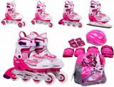 Role pentru fete, 27-30, cu casca si accesorii de protectie, roz