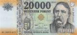 UNGARIA █ bancnota █ 20000 Forint █ 2017 █ P-207c █ UNC █ necirculata