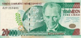 TURCIA █ bancnota █ 20.000.000 20000000 Lira █ 2000 █ P-215 █ UNC █ necirculata
