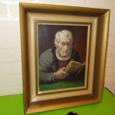 CITITORUL ,  pictura in  ULEI pe PANZA  semnata Sjogren , inramata , tablou, Portrete, Realism