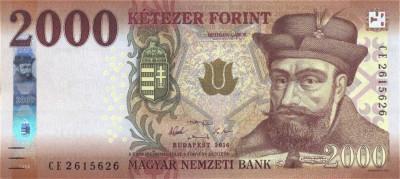 UNGARIA █ bancnota █ 2000 Forint █ 2016 █ P-204a █ UNC █ necirculata foto
