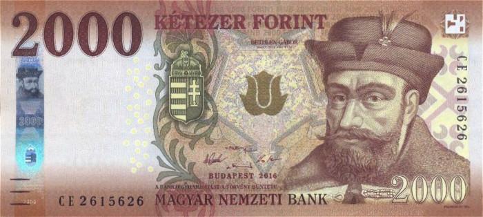 UNGARIA █ bancnota █ 2000 Forint █ 2016 █ P-204a █ UNC █ necirculata