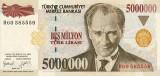 TURCIA █ bancnota █ 5.000.000 5000000 Lira █ 1997 █ P-210 █ UNC █ necirculata