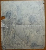 Desen in creion de Magdalena Radulescu, Religie, Carbune, Realism