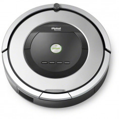 Robot de aspirare Roomba 886, AeroForce, Wall Follow, Room to Room, Senzor detectare scari, Baterie Xlife, Argintiu, iRobot