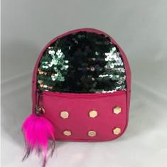 Rucsac roz cu paiete si breloc puf+CADOU