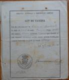 Directia Generala a Serviciului Sanitar , Act de vaccin , Vaslui , 1873