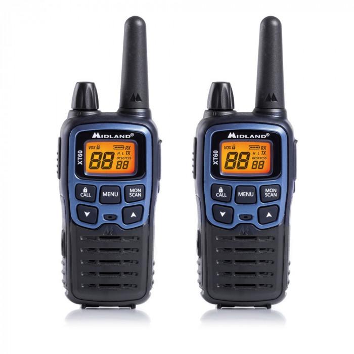 Resigilat : Statie radio PMR/LPD portabila Midland XT60 set cu 2 buc. albastru met