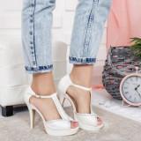 Sandale Beice albe cu toc elegante