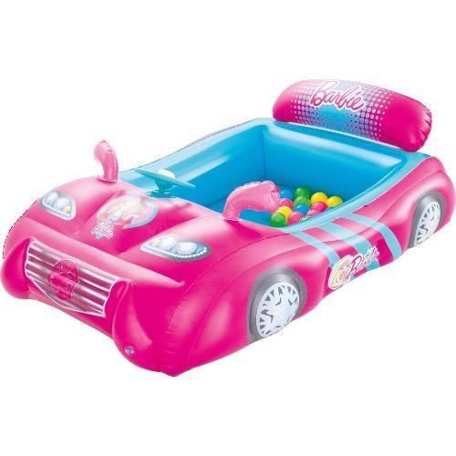Masinuta de Curse Gonflabila Barbie cu 25 de Bile - VV25859