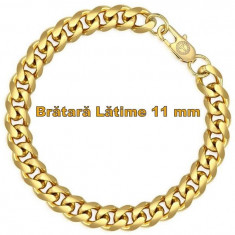 Brățară bărbătească, lată de 11 mm, lungime 20/22 cm, placata aur 18 K