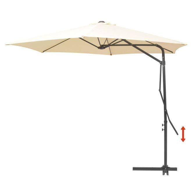 Umbrelă de soare suspendată, stâlp oțel, 300 cm, crem foto mare