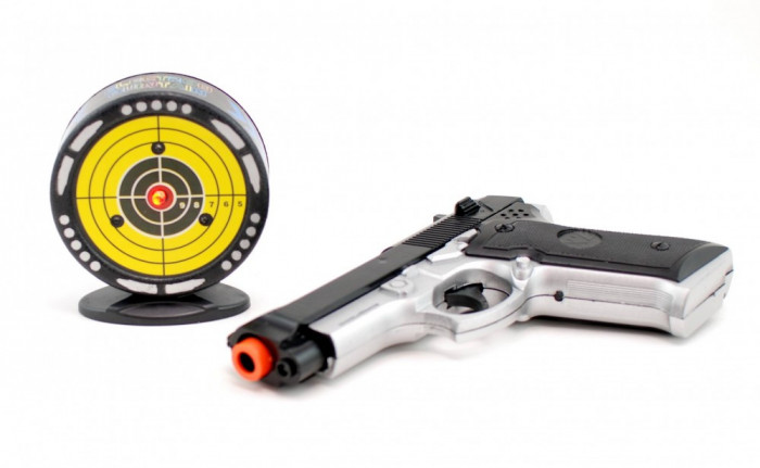 Pistol pentru copii cu sunete, lumini, infrarosu si tinta XZH14P