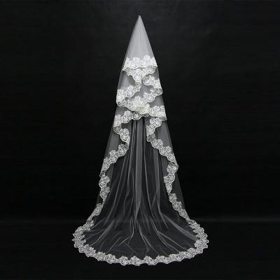 Voal de mireasa superb lungime 3 m alb nou model deosebit foto