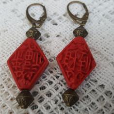 Cercei hand made, cinabru red