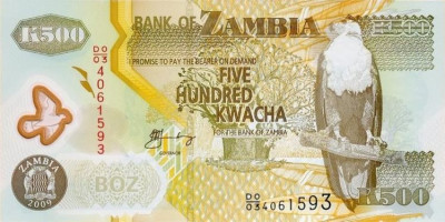 ZAMBIA █ bancnota █ 500 Kwacha █ 2009 █ P-43g █ POLYMER █ UNC █ necirculata foto