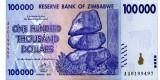 ZIMBABWE █ bancnota █ 100000 100.000 Dollars █ 2008 █ P-75 █ UNC █ necirculata