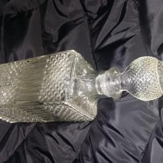 Antichitate ,sticla veche whisky Bohemia Crystal Originala,30 cm,Transp.GRATUIT