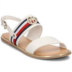 Sandale Femei Tommy Hilfiger Corporate Ribbon Flat Sandal Whisper FW0FW02811121, 36, 37, 38, 39, 40, 41, Alb, Tommy Hilfiger