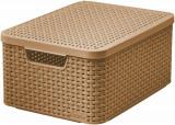 Basket Curve STYLE M Brown cu capac/Koszyk Curver STYLE M Brązowy z pokrywą - EC01437