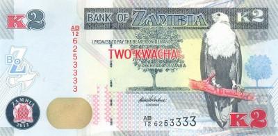 ZAMBIA █ bancnota █ 2 Kwacha █ 2012 █ P-49a █ UNC █ necirculata foto