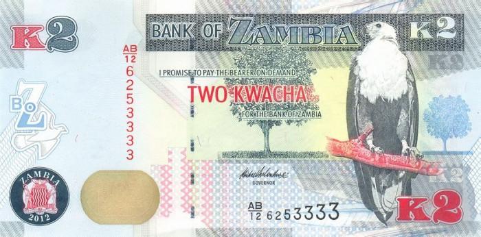 ZAMBIA █ bancnota █ 2 Kwacha █ 2012 █ P-49a █ UNC █ necirculata