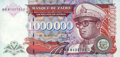 ZAIR █ bancnota █ 1.000.000 1000000 Zaires █ 1993 █ P-45b █ UNC █ necirculata foto