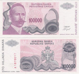 !!! BOSNIA , REPUBLICA SRPSKA -  100.000  DINARI   1993  -  P 151  - UNC