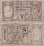 1929, 20 francs (P-37a) - Noua Caledonie! (CRC: 67%) (prezinta reparatie)