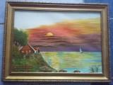 Tablou pictat pe panza cu rama originala,pictura pe panza T GRATUIT
