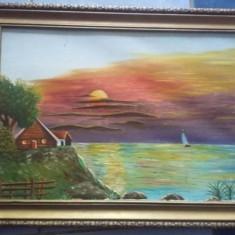 Tablou pictat pe panza cu rama originala,pictura pe panza T GRATUIT, Abstract, Pastel, Realism