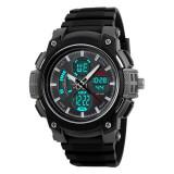 Ceas Military SKMEI 2 fusuri orare cronograf data waterproof 50M inot, Lux - sport, Quartz, Inox