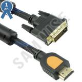 Cablu DeTech HDMI tata - DVI tata, 5m, Calitate superioara, Ferrite, Negru
