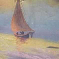 Pictura veche pe panza,tablou pictat original cu rama, Marine, Pastel, Altul