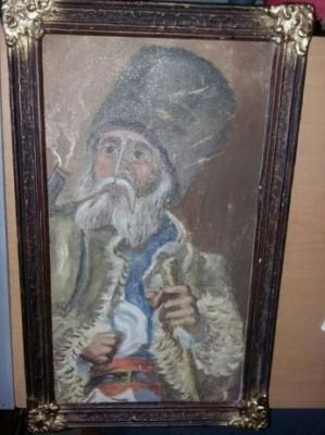 Pictura foarte veche,tablou pictat pe panza,portret Taranul Roman T GRATUIT foto