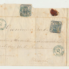 1862 ROMANIA Principatele Unite 30 parale 2 timbre pe plic rar Botosani Moldova