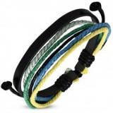 Brățară cu șnururi multiple, bandă fină din piele neagră sintetică, dantelă colorată