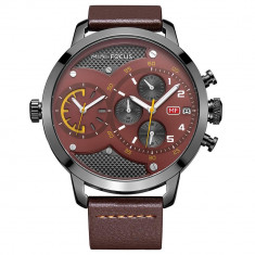 Ceas Mini Focus, rezistent la apa 3Bar, mecanism Quartz, curea din piele maro, afisaj analogic, calendar complet, stil Fashion + cutie cadou