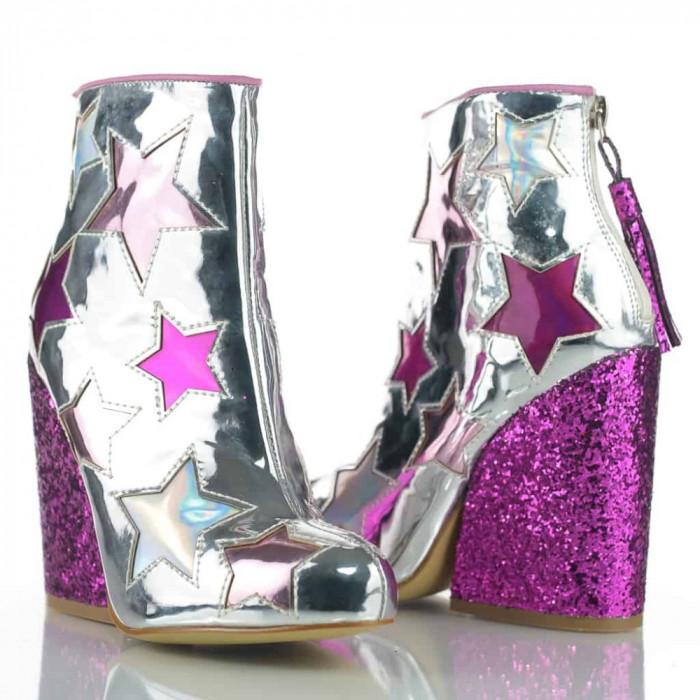 Botine Glitter Argintii YRU