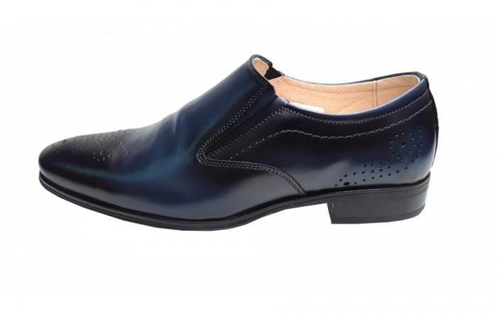 Pantofi eleganti din piele naturala, cu elastic - 889BLM