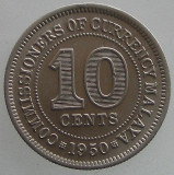 MALAYA KM#8 - 10 CENTS 1950 , KING GEORGE VI, Asia