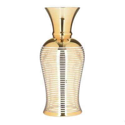 Vaza aurie din sticla 15.5cm x 15.5cm x 36cm foto