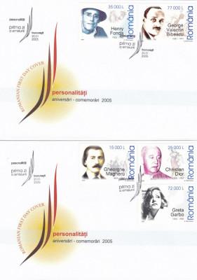 ROMANIA 2005 LP 1672  ANIVERSARI - COMEMORARI PERSONALITATI I  FDC foto