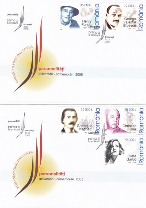 ROMANIA 2005 LP 1672  ANIVERSARI - COMEMORARI PERSONALITATI I  FDC foto mare