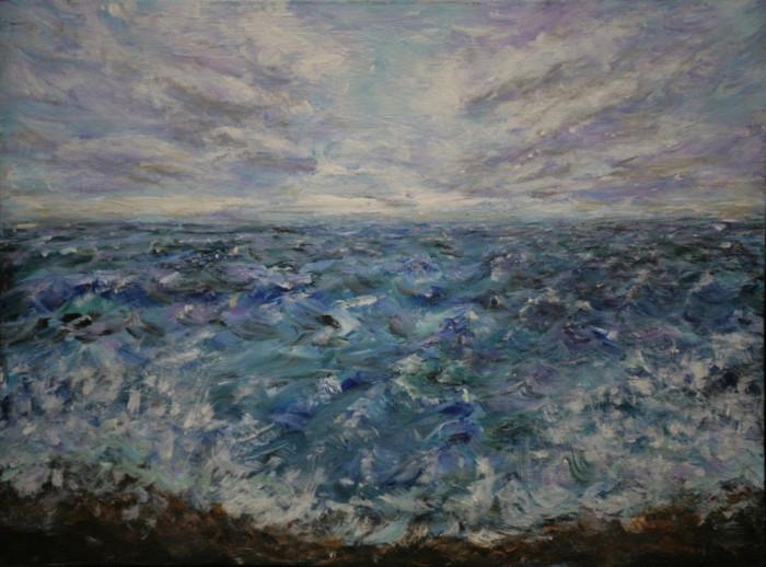 OFERTA! Orizont - Tablou pictat in culori acrilice; 40/30 cm, Original.