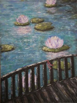 """Tablou impresionist """"Serenity in blue"""", vernisat, 40/30cm, albastru, lila, maro. foto"""
