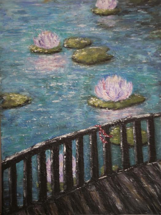 """Tablou impresionist """"Serenity in blue"""", vernisat, 40/30cm, albastru, lila, maro."""
