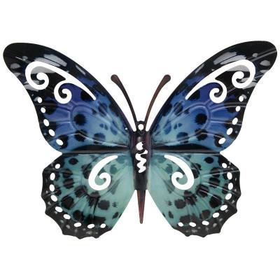 Fluture metalic deco Blue 32 x 31 cm foto